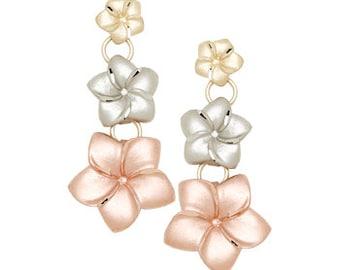 14k Tricolor Plumeria Earrings, Tricolor Plumeria Earrings, Plumeria, Flowers, Floral, Tricolor Jewelry, Plumeria Jewelry