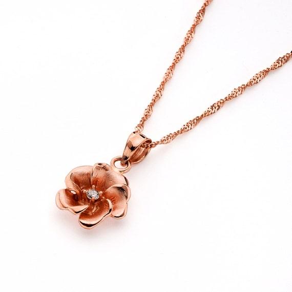14k Rose Gold Diamant Rosenanhanger Auf 18 Kette Rose Etsy