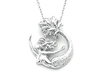 Silver Mermaid, Mermaid Slide, Mermaid Pendant, Sterling Silver Mermaid, Mermaid Jewelry, Silver Mermaid Jewelry, Mermaid Necklace