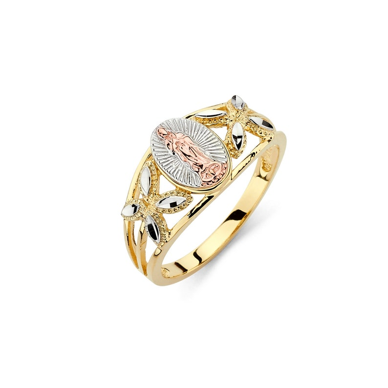 953873a8aebde 14K Tricolor Our Lady of Guadalupe Ring, Religious Jewelry, Gold Guadalupe,  Guadalupe, Guadalupe Ring, Religious Ring, Gold Ring