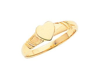 14k solid gold heart signet baby ring. signet pinkie ring. baby jewelry