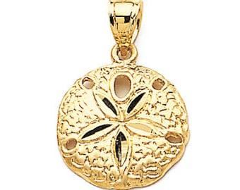 14k yellow gold sand dollar pendant. sand dollar pendant. sand dollar. sealife. beach