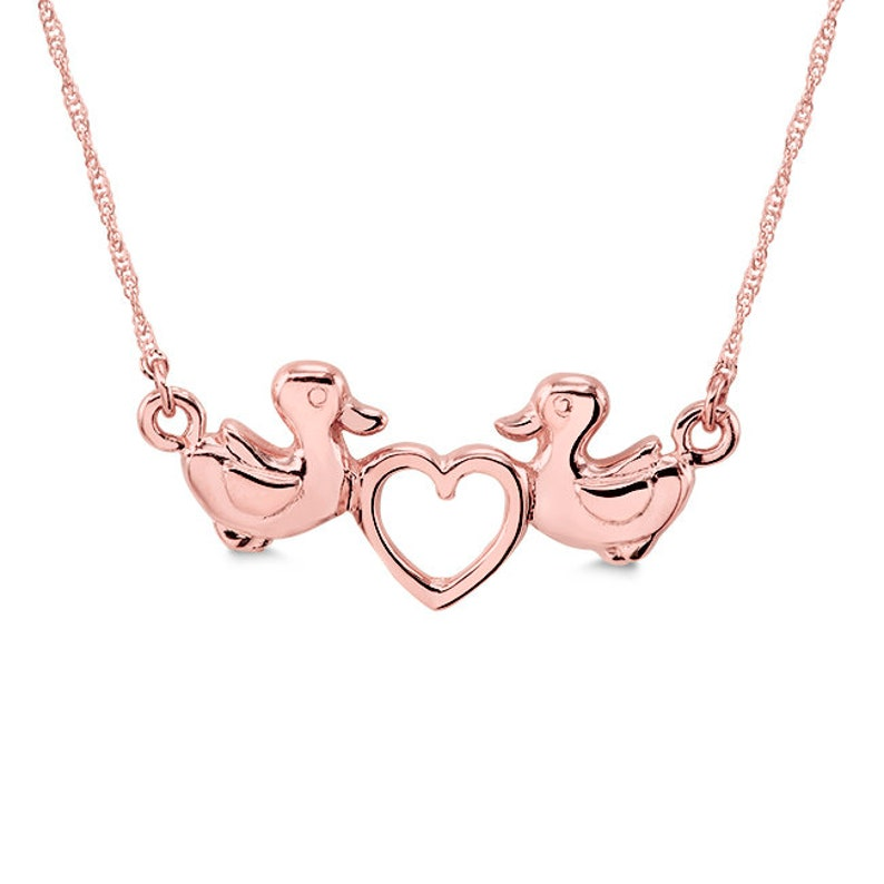 love ducks necklace. 14k solid gold duck necklace