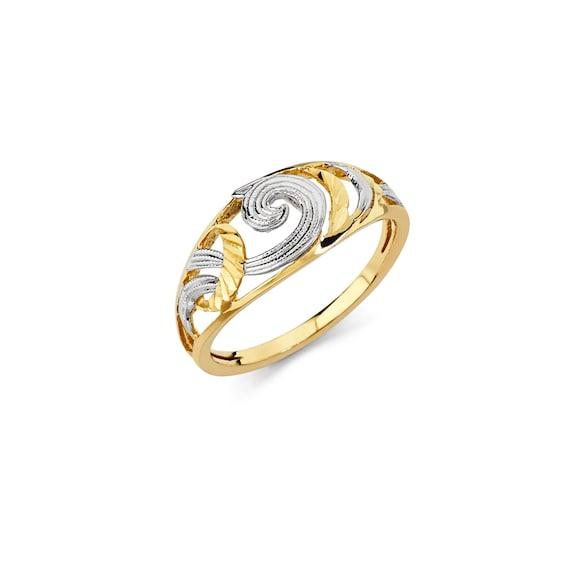 14k Zweifarbige Gold Ausgefallener Ring Ausgefallener Ring Etsy