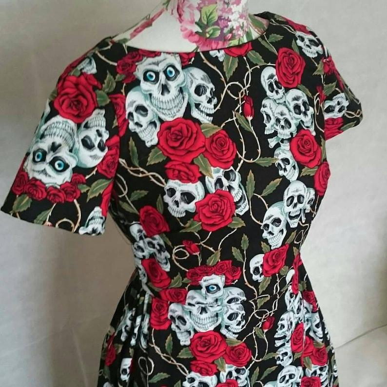 Skull and Rose Tattoo Print Swing Dress