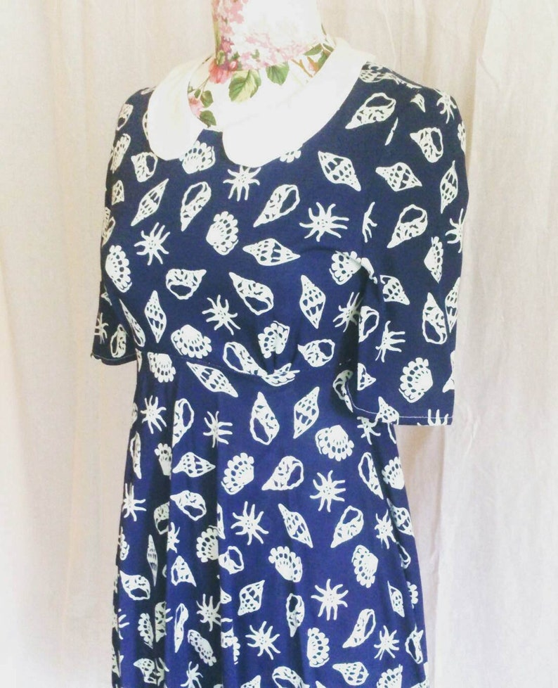 Unique one of a kind Blue vintage seaside print sundress with peter pan collar size 8-10