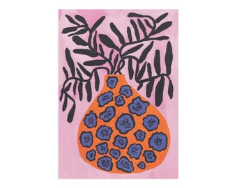 Orange and Blue Pot Print in A4 or A3