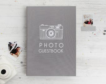 Gray Photo Guest book Instax Mini White Foil Lettering, Instant Guestbook, Instax Wide Picture Album, Bridal Shower, Birthday Album
