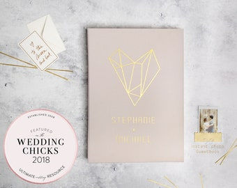 Gold Foil Guest Book Cream Instax Picture Album, Geometric Heart Bridal Shower Guestbook Birthday Album With Photo Pockets - by Liumy