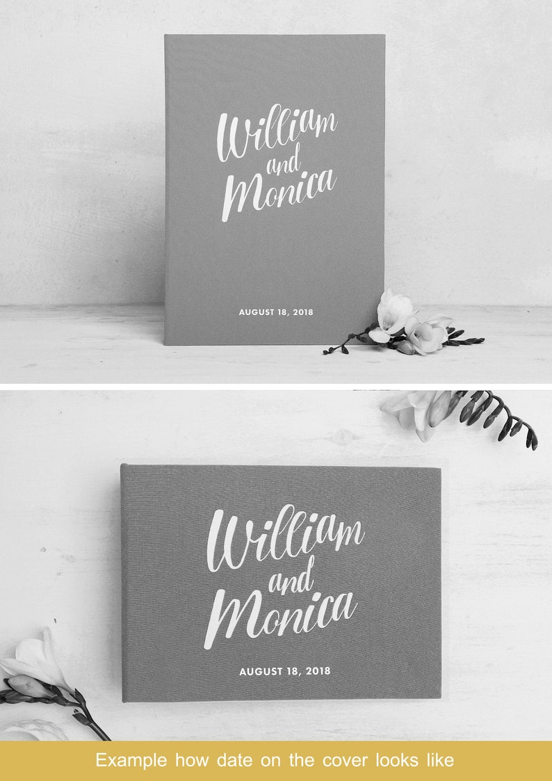 Photo Guestbook Album with empty pages Wedding Guest Book Black White Lettering