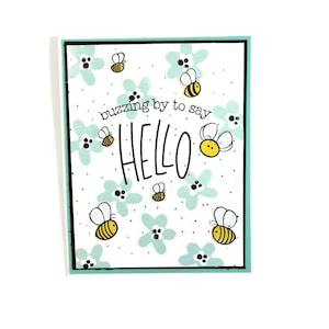 Thinking of you card Honey Bee card Encouragement Bee yourself handmade card Hello Bumble Bee card Daisy flowers card any ocassion.