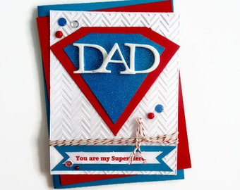 DAD your my super HERO!  Happy Father's Day handmade card -
