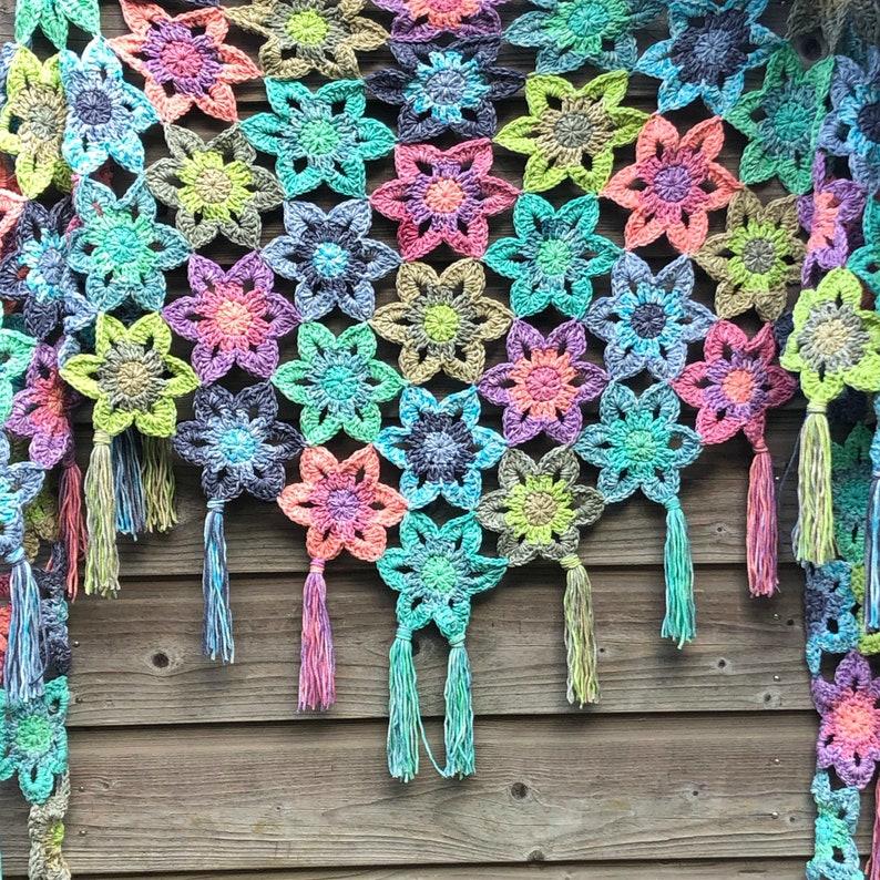 Faded Flowers Shawl Crochet pattern PDF image 1