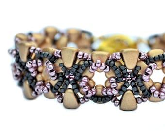 Stella: Bead Bracelet Tutorial, Beading Pattern, NIB-BIT beads, Seed Beads, reversable, beadweaving