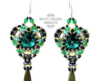La Royale, bead weave pattern for earrings with swarovski, Super Duo beads, Lentil (2 hole) beads
