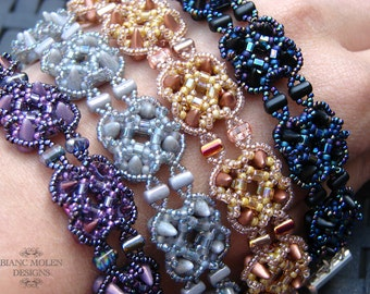 Acantha, bead weave pattern for bracelet with babyspikes, rulla beads and seed beads