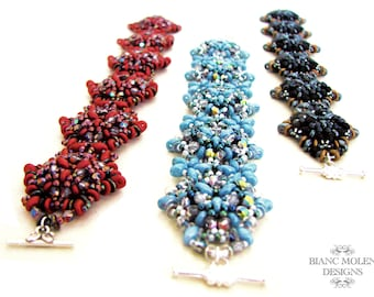 Adelaide, pattern for bracelet and ring with O-Beads, superduo's, seed beads and glass beads