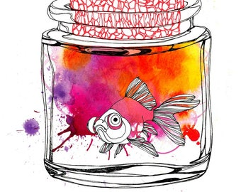 Art print, goldfish in a little glass jar with cork, watercolor illustration, home decor