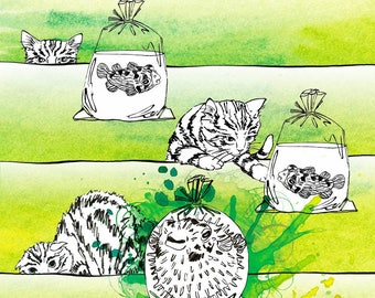 Art print, watercolor illustration, Cat and pufferfish, green background, Home decor