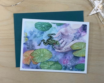 Greeting card, child catching a frog in a pond.