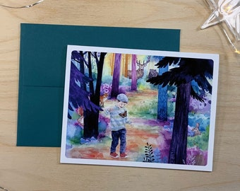 Greeting card, little boy on a walk in the forest.