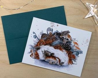 Greeting card, sleeping hedgehog.
