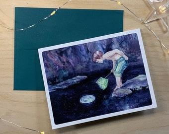 Greeting card, little boy who wants to catch the moon.