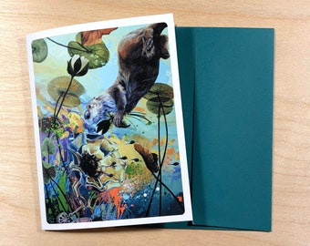 Greeting card, otter and waterlilies.
