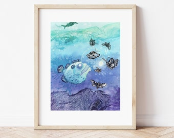 Illustration of a lantern fish with butterflies. 11 x 14 High quality art print.