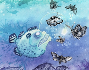 Illustration of a lantern fish with butterflies. High quality art print. 8x10 or 5x7.