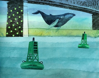 Humpback whale under Jacques-Cartier bridge in Montreal. High quality art print. 11 x 14 inches.