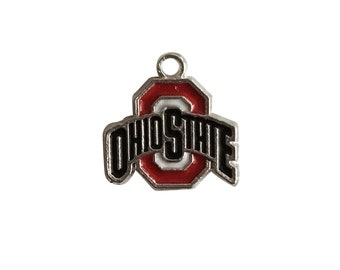 College Jewelry Ohio State Buckeyes Stainless Steel Adjustable Bangle Bracelet with Yellow Gold Plated Round Charm