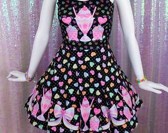girls birthday sweet treats dress heart dress heart bib candy shop dress heart outfit Valentine/'s Day dress cupcake dress