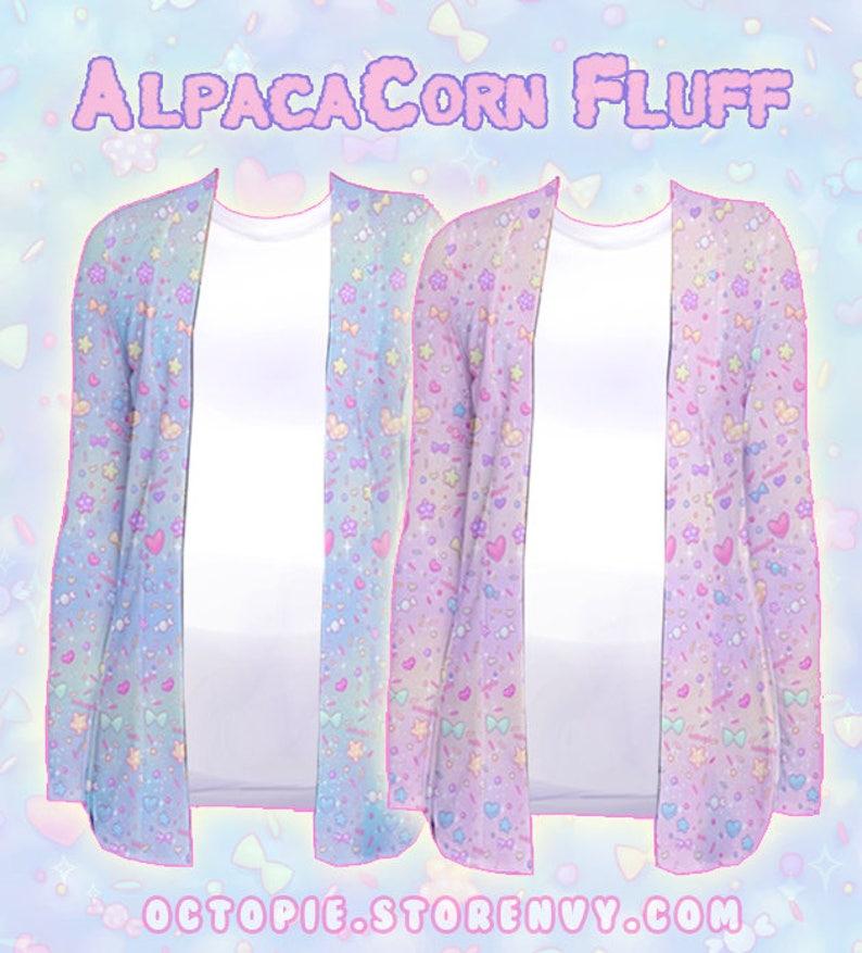 Blue AlpacaCorn Fluff Cardigan