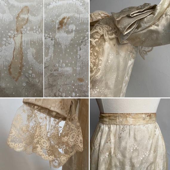 Antique VICTORIAN Silk Wedding Ensemble XS - image 9