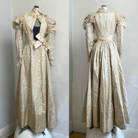 Antique VICTORIAN Silk Wedding Ensemble XS - image 5