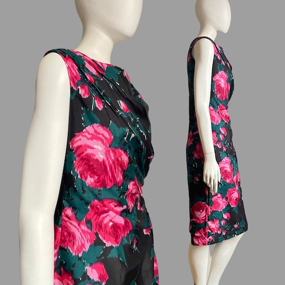 Vintage 1950s 60s Silk Rose Print Cocktail Wiggle… - image 6
