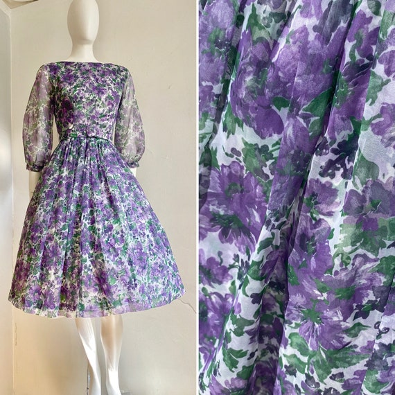 Vintage 1950s Painterly Floral Full Skirt Layered