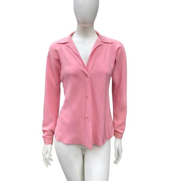 Vintage 1970s HALSTON Studio 54 Pink Blouse M - image 2