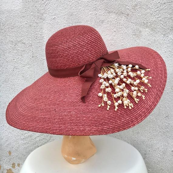 1980s ROCHELLE Straw Wide Brimmed Hat