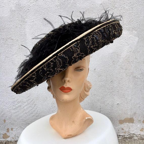 1980s KOKIN Straw & Marabou Feathers Hat