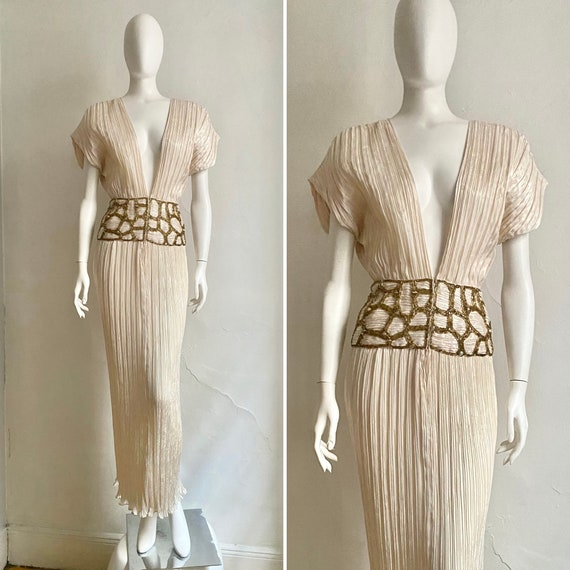 Vintage 1980s MICHAEL CASEY Goddess Fortuny Pleati
