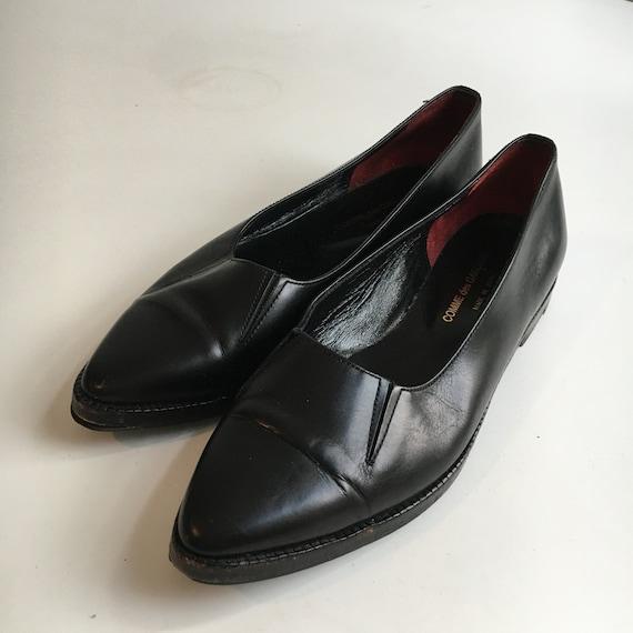 1990s COMME des GARCONS Black Leather Shoes Sz 8