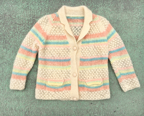 Vintage 1950s Hand knit Spring Sweater M