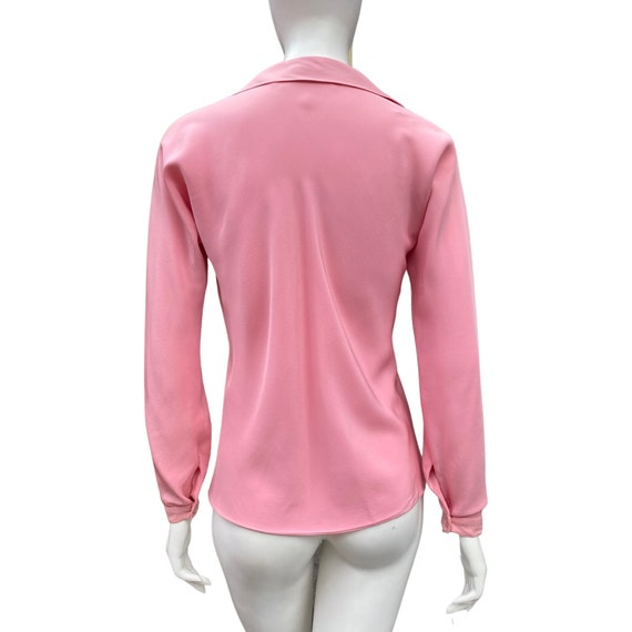 Vintage 1970s HALSTON Studio 54 Pink Blouse M - image 4
