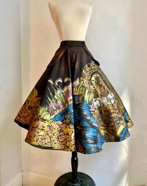 1950s Hand Painted Lupe Juan Mexican Circle Skirt