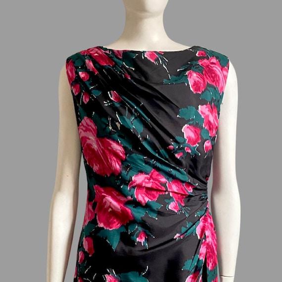 Vintage 1950s 60s Silk Rose Print Cocktail Wiggle… - image 2
