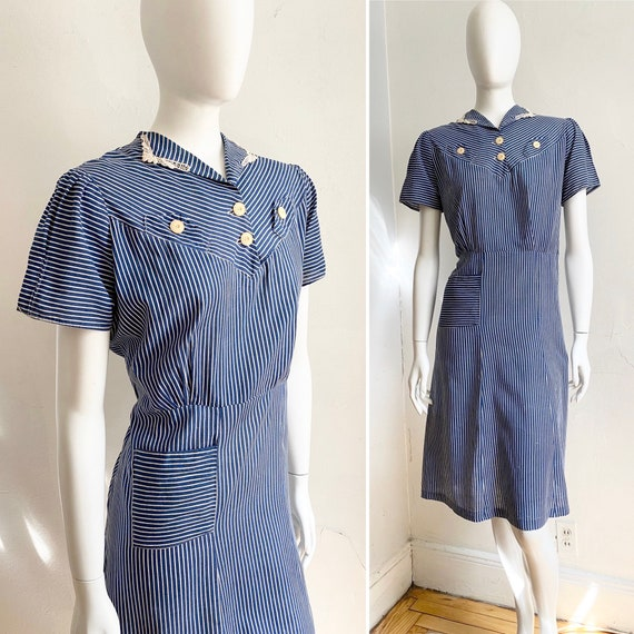 1930s Depression Era Ticking Stripe Lace Detail Dr