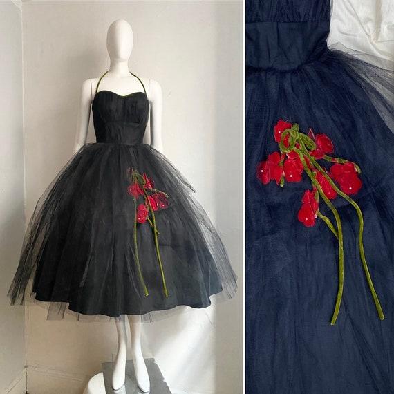 Vintage 1950s Black Tulle and Velvet Cocktail Dres