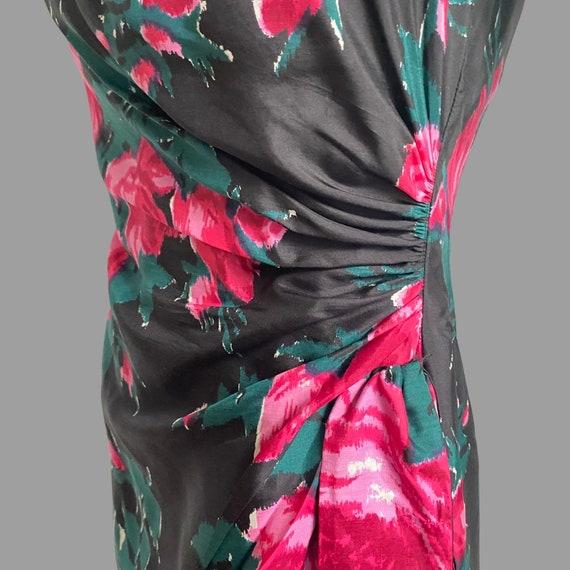 Vintage 1950s 60s Silk Rose Print Cocktail Wiggle… - image 5